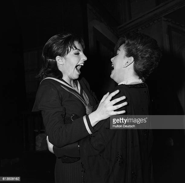 Judy and Liza American singer and actress Judy Garland greeting her daughter actress and singer Liza Minnelli 1965 Garland Judy American entertainer...