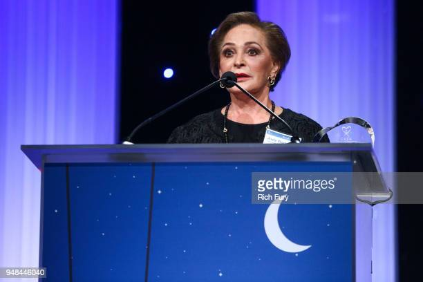 Judy Beckmen speaks onstage during the CASA Of Los Angeles' 2018 Evening To Foster Dreams Galaat The Beverly Hilton Hotel on April 18 2018 in Beverly...