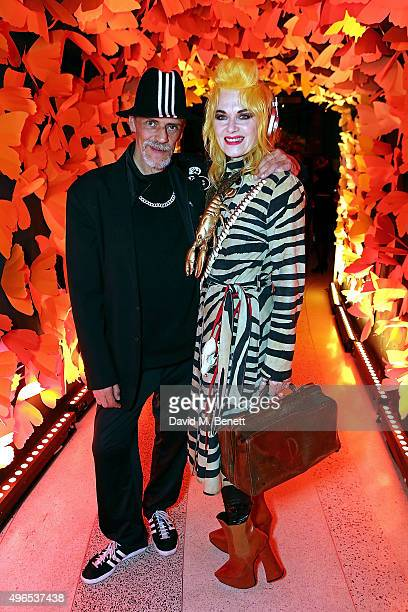Judy Blame and Pam Hogg attend SUSHISAMBA third anniversary celebration with an Amazonian themed Carnival party at Sushi Samba on November 10 2015 in...