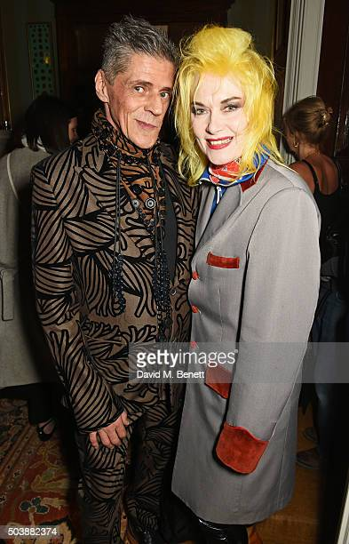 Judy Blame and Pam Hogg attend the London Collections Men AW16 opening party hosted by the British Fashion Council and GQ Editor Dylan Jones at...