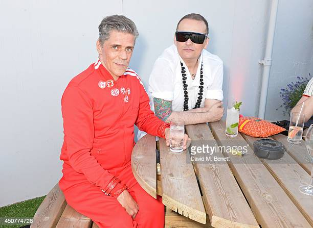 Judy Blame and Sibling designer Joe Bates attend a party hosted by SIBLING LOVE on the rooftop of Selfridges in celebration of LCM at Selfridges on...