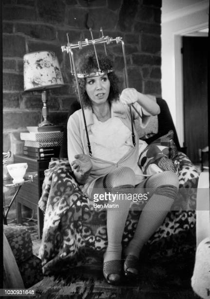 Judy Carne comedienne and actress who suffered a broken neck in a car accident wearing a 'halo brace' at her girlhood home Chapel Brampton...