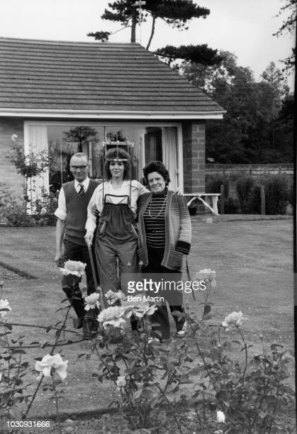 Judy Carne English comedienne and actress recuperating in a 'halo brace' at home with her parents Harold and Kathy Botterill in Chapel Brampton...