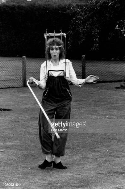 Judy Carne Laughin's 'sock it to me' comedienne in a 'halo brace' recovering from a broken neck at her girlhood home Chapel Brampton...