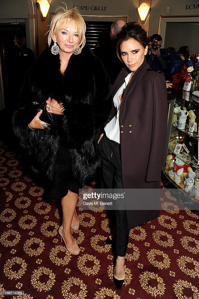 Judy Craymer (L) and Victoria Beckham arrive at the Gala Press Night performance of 'Viva Forever' at the Piccadilly Theatre on December 11, 2012 in London, England.