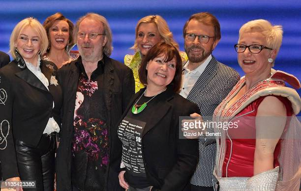 Judy Craymer Benny Andersson Catherine Johnson Bjorn Ulvaeus and Ricky Butt attend the 20th anniversary performance of Mamma Mia at the Novello...