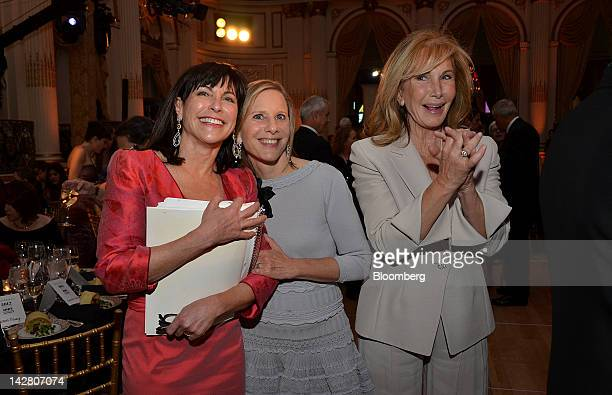 Judy Dimon honorary chair from left Melanie Shorin principal at the Narrative Trust and guest stand for a photograph at the Ballet Hispanico gala in...