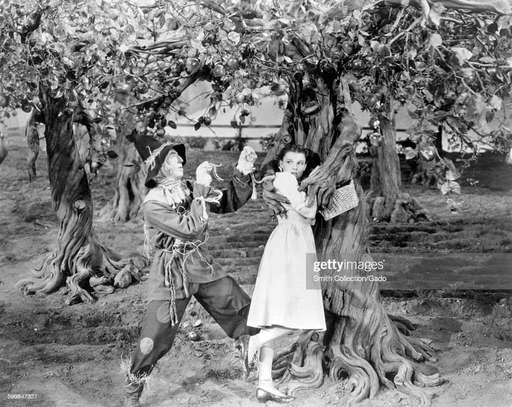 Judy Garland and Ray Bolger in a movie still from the Wizard of Oz, 1939.