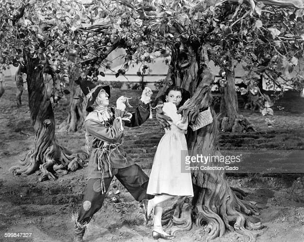 Judy Garland and Ray Bolger in a movie still from the Wizard of Oz 1939
