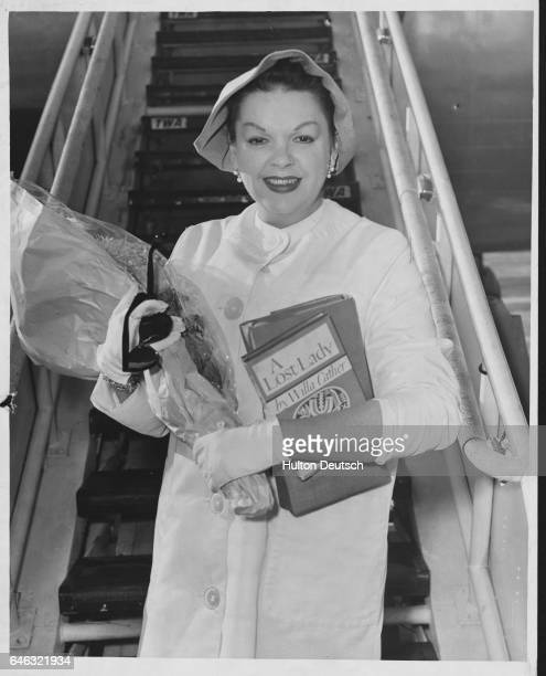 Judy Garland arrives. American singer and actress Judy Garland arriving at London Airport, 1960. Garland; Judy: American entertainer, born in Grand...