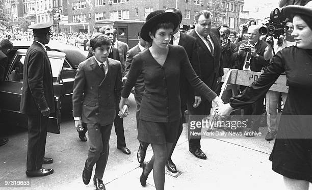 Judy Garland's children: Joey Luft, Liza Minnelli and Lorna Luft arrive at Frank E. Campbell funeral chapel for services.