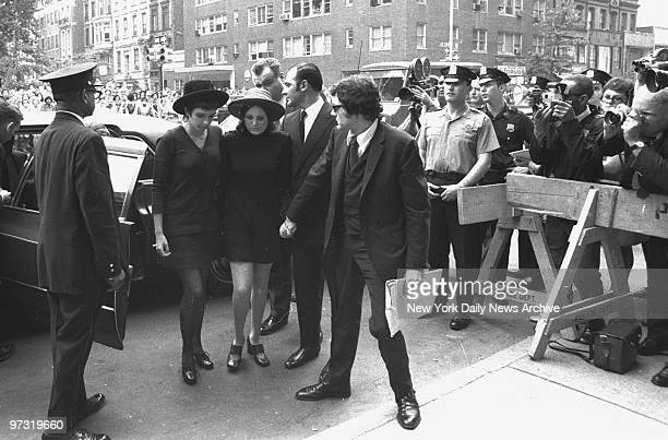 Judy Garland's daughters, Liza Minnelli and Lorna Luft and her last husband, Mickey Deans arrive at Frank E. Campbell funeral chapel for services.