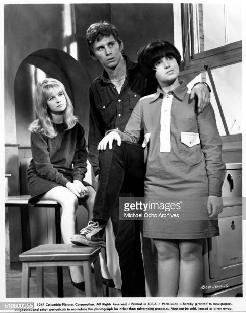 Judy Geeson Christian Roberts and Adrienne Posta look on in a scene from the Columbia Pictures movie 'To Sir with Love' circa 1967
