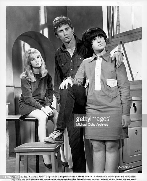 Judy Geeson Christian Roberts and Adrienne Posta watching in a scene from the film 'To Sir With Love' 1967