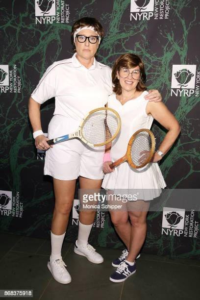 Judy Gold and Elysa Halpern attend Bette Midler's 2017 Hulaween event benefiting the New York Restoration Project at Cathedral of St John the Divine...