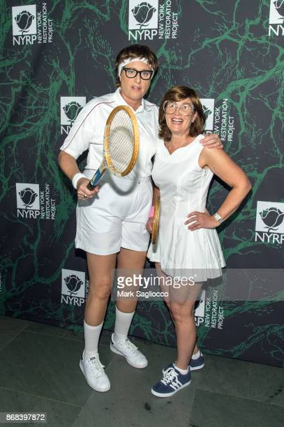Judy Gold and Elysa Halpern attend the Bette Midler's 2017 Hulaween Event Benefiting The New York Restoration Project at Cathedral of St John the...