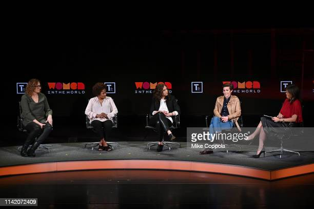 Judy Gold Wanda Sykes Jenny Hagel Cameron Esposito and Juju Chang speak onstage at the 10th Anniversary Women In The World Summit Day 2 at David H...