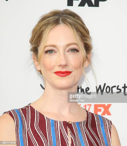 """Judy Greer arrives at the Los Angeles premieres of """"You're The Worst"""" and """"Married"""" held at Paramount Studios on July 14, 2014 in Hollywood,..."""