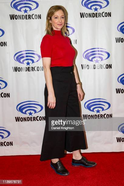 Judy Greer attends the Archer press room at WonderCon 2019 Day 3 at Anaheim Convention Center on March 31 2019 in Anaheim California