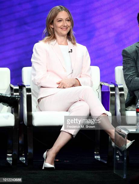 Judy Greer from Kidding speaks onstage at the Showtime Network portion of the Summer 2018 TCA Press Tour at The Beverly Hilton Hotel on August 6 2018...