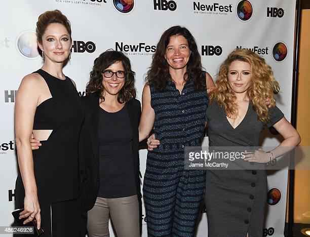 Judy Greer Karey Dornetto Jamie Babbi and Natasha Lyonne attend the New York premiere of Addicted To Fresno at SVA Theater on September 2 2015 in New...