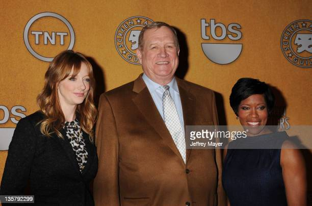 Judy Greer, Ken Howard and Regina King pose onstage during The 18th Annual Screen Actors Guild Awards Nominations Announcement at the Silver Screen...