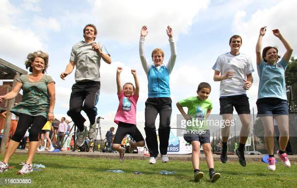 Judy Jamie and Andy Murray play games with children from Singlegate Primary School and their parents during the Set4Sport launch on June 14 2011 in...