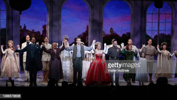 Judy Kaye Christy Altomare Max von Essen and Vicki Lewis with Cody Simpson making his Broadway Debut Bows in Anastasia at the Broadhurst Theatre on...