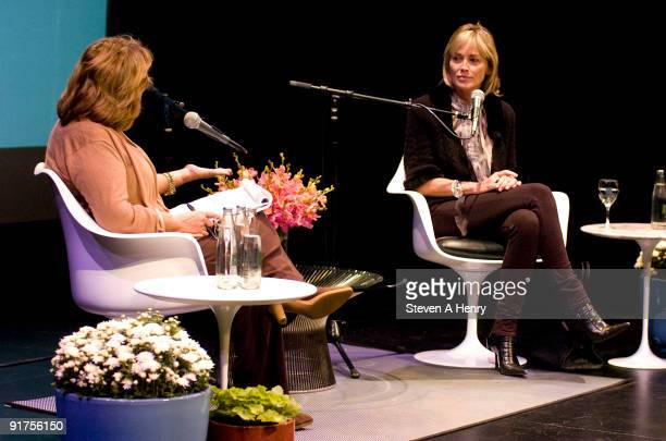 Judy Licht interviews Sharon Stone during 'A Conversation With' as part of the 17th Annual Hamptons International Film Festival at the Bay Street...