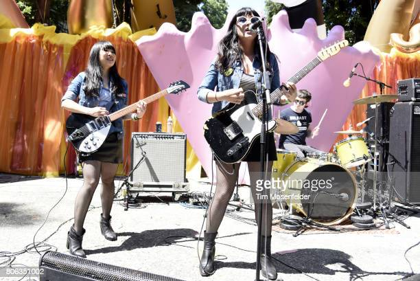Judy Lindsay and Mary Blount of Baby Shakes perform during Burger Boogaloo 2017 at Mosswood Park on July 1 2017 in Oakland California