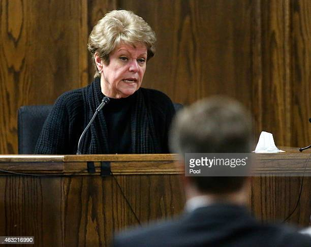 Judy Littlefield mother of Chad Littlefield takes the witness stand for testimony during the capital murder trial of former Marine Cpl Eddie Ray...