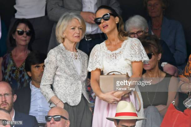 Judy Loe and Kate Beckinsale attend Men's Finals Day of the Wimbledon Tennis Championships at All England Lawn Tennis and Croquet Club on July 14...