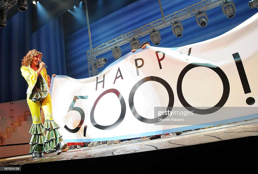 Judy McLane performs on stage during curtain call at the 5,000 performance celebration of 'Mamma Mia!' on Broadway at Broadhurst Theatre on November 9, 2013 in New York City.