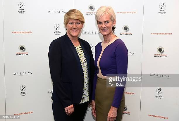 Judy Murray and Clare Balding pose for photos during the Sport Industry Breakfast Club on June 8 2016 in London England