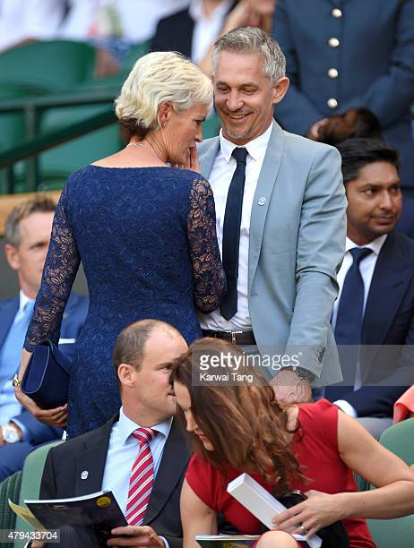 Judy Murray and Gary Lineker attend day six of the Wimbledon Tennis Championships at Wimbledon on July 4 2015 in London England