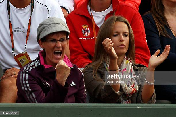 Judy Murray and Kim Sears cheer on Andy Murray of Great Britain during the men's singles round four match between Andy Murray of Great Britain and...