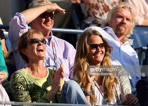 Judy Murray and Kim Sears sit in the stands as Andy Murray of the United Kingdom plays Roger Federer of Switzerland in the 2008 US Open Men's...