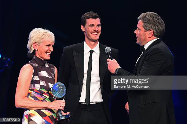 Judy Murray and son Jamie talk to Mark DurdenSmith after receiving Outstanding Contribution to Sport Award from Prince Harry at the BT Sport Industry...