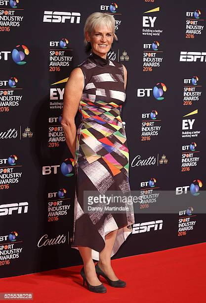 Judy Murray arrives for BT Sport Industry Awards at Battersea Evolution on April 28 2016 in London England