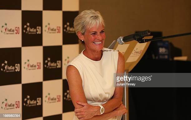 Judy Murray captain of Great Britain makes a speech at the team dinner during previews ahead of the Fed Cup World Group Two PlayOffs between...