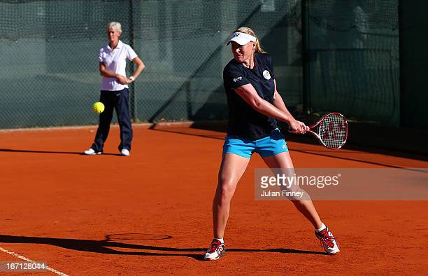 Judy Murray captain of Great Britain watches Elena Baltacha of Great Britain before play during day two of the Fed Cup World Group Two PlayOffs...