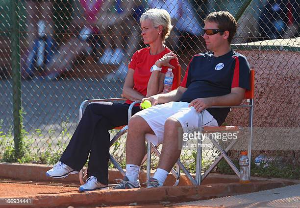 Judy Murray captain of Great Britain watches on during previews ahead of the Fed Cup World Group Two PlayOffs between Argentina and Great Britain at...