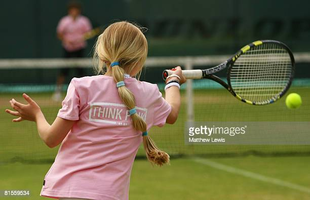 Judy Murray coaches six of Great Britain's best 10 year old girls during a 'LTA Think Pink' activity to encourage girls to start playing tennis...