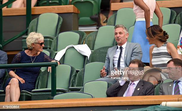 Judy Murray Gary Lineker and Danielle Lineker attend day six of the Wimbledon Tennis Championships at Wimbledon on July 4 2015 in London England