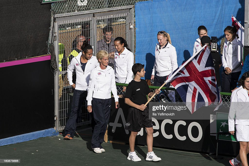Judy Murray leads the Great Britain team at the opening event after the tie between Great Britain and Bosnia and Herzegovina during the Fed Cup Europe/Africa Group One fixture at the Municipal Tennis Club on February 7, 2013 in Eilat, Israel.