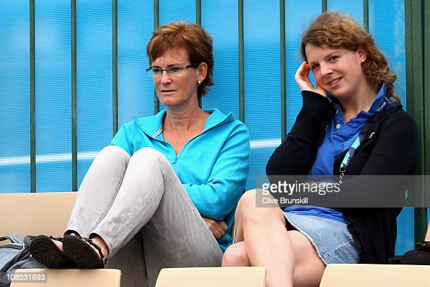 Judy Murray mother of Andy Murray watches the third round juniors match between George Morgan also of Great Britain and Mate Delic of Croatia on day...