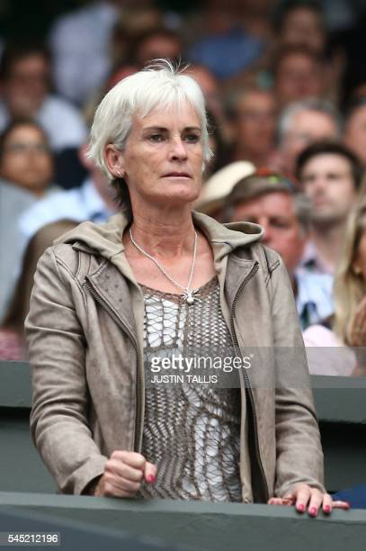 Judy Murray mother of Britain's Andy Murray watches him play France's JoWilfried Tsonga during their men's singles quarterfinal match on the tenth...
