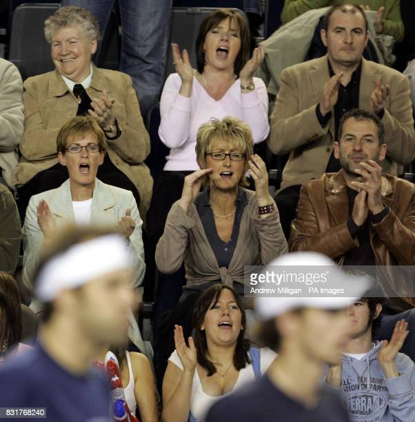 Judy Murray mother of Great Britain's with dad Willie as they watch their son and Greg Rusedski play Serbia and Montenegro during the Davis Cup...