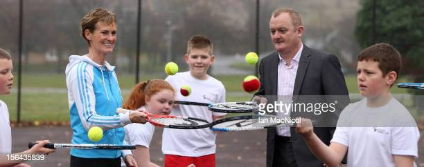 Judy Murray mother of tennis player Andy Murray Councillor Paul Carey from Drumchapel and Anniesland and pupils from Camstradden Primary School pose...