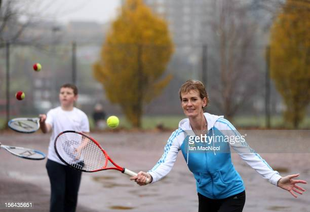 Judy Murray mother of tennis player Andy Murray is joined by pupils from Camstradden Primary School at the site of the propossed new tennis courts at...